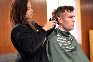 While most students on campus were still sleeping Maria Butler was volunteering her time for St. Baldricks. Butler has been a licensed cosmetologist since she was 18 years old.