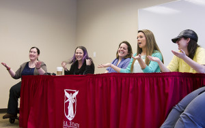 A panel of women with disabilities speaks to a group during an event hosted by Ball State University in Muncie, Ind on March 24. Each member shared their experiences and difficulties, shedding light on the day-to-day struggles and successes of life with a disability.