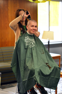 Javon Yoder decided to participate in the event when Braton/Clevenger's hall council vice president, Zane Barker, asked him. Yoder said he enjoyed the experience and would consider shaving his head again in the future.