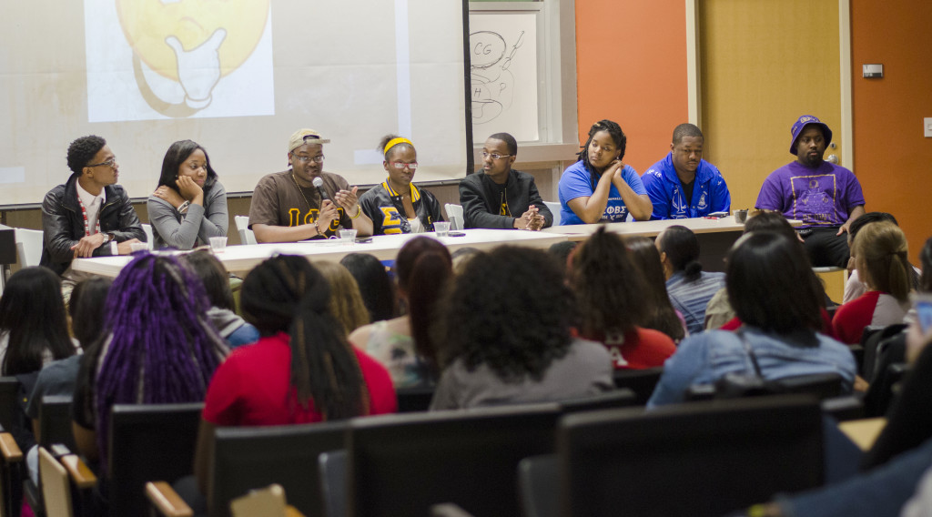 Representatives of the Divine 9 answer audience questions during an informational meeting about NPHC.