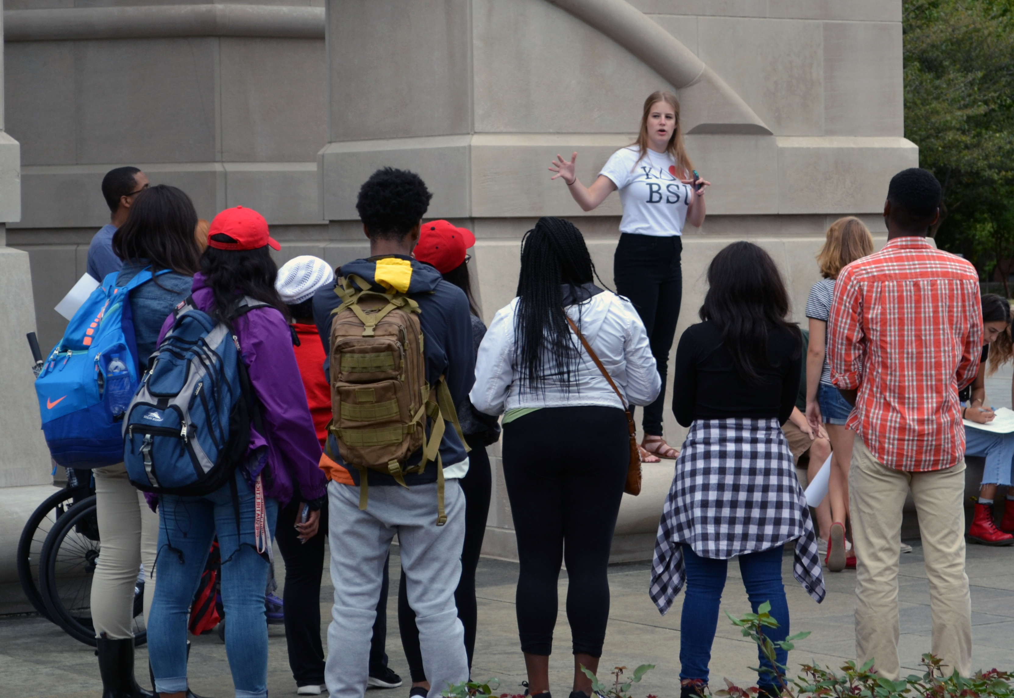 Mary Pat Stemnock, Ball State Democrat, led a protest on campus Wednesday, Sept. 9.